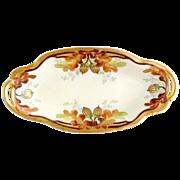 Antique Pickard porcelain pickle dish hand painted gold acorns