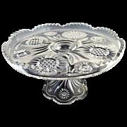 Early pattern glass cake stand Solar aka Feather Swirl by U.S. Glass