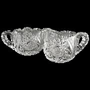 Brilliant cut glass sugar bowl cream pitcher starburst
