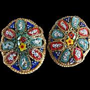 Vintage earrings Italian mosaic glass