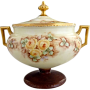 RS Prussia cookie jar compote hand painted signed Germany