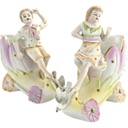 German bisque planters boy girl gold moriage nursery