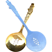Advertising Mr. Peanut spoons Planters Peanut gold blue