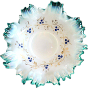 Victorian opalescent cased glass bowl hand painted ruffled rim