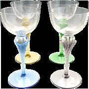Vintage colored stem wine glasses hand blown crystal