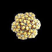 Vintage lucite flower brooch aurora borealis crystal rhinestones