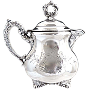 SOLD Wallace Silver syrup cream pitcher chased design c. 1880s