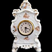 Antique porcelain clock cherubs Victoria Austria German c. 1891
