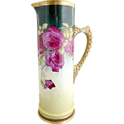 Antique champagne tankard heirloom roses Gutherz c. 1900 signed
