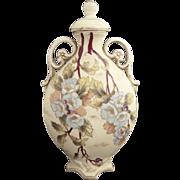 Antique porcelain flask hand painted Victoria Austria c. 1891