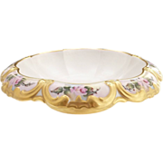 Antique center bowl scalloped German porcelain roses gold