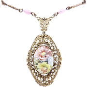 Vintage porcelain pendant necklace filigree hand painted flowers