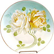 Antique Bavarian porcelain plate yellow roses