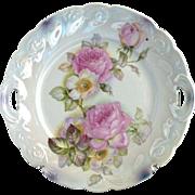Antique cake plate heirloom roses Bavaria lusterware