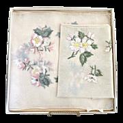Vintage chiffon dresser scarves embroidered flowers Japan
