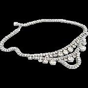 Vintage necklace crystal rhinestones drape Prom Wedding