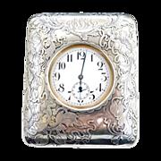 Art Nouveau French sterling silver travel clock Swiss pocket watch