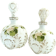 Antique Dithridge glass vanity bottles hand enameled