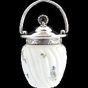 Antique milk glass biscuit jar hand painted silver mounts