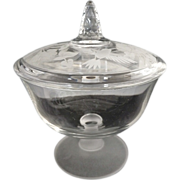 Avon crystal candy dish hummingbird frosted glass base