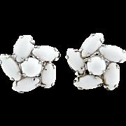Vintage milk glass navette earrings c. 1940s