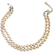 Vintage faux pearl choker necklace rhinestone closure bride wedding