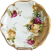 ES Prussia porcelain charger yellow roses gold