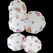 Victorian porcelain cake set pink carnations c. 1890s