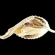 Autumn leaf brooch gold textured design