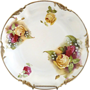 ES Prussia yellow rose plate Lily of the Valley gold trim