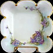 Edwardian Rosenthal bowl hand painted violets c. 1910