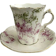 German porcelain chocolate cup and saucer enameled c. 1890s