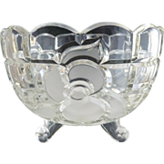 Frosted glass rose bowl cabriole legs