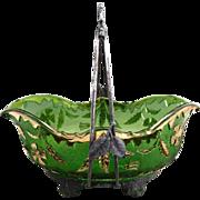 Victorian green glass brides bowl fruit bowl Delaware