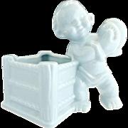 Haeger pottery boxing boy planter nursery