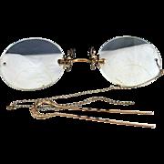 Vintage gold Pince nez eyeglasses hair pin