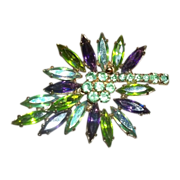 Pretty Vintage Purple and Green Figural Rhinestone  Leaf Brooch / Pin