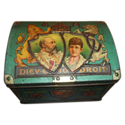 SALE Vintage Advertising Tin Chest Trunk Coronation 1902