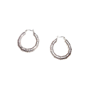 SALE Pretty Vintage 925 Sterling Silver Hoop Earrings Pierced