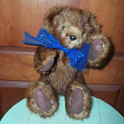 SALE Jointed Real Muskrat Fur Teddy Bear Puddin