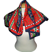 Bright & Cheerful Vintage Designer Signed Jacqmar Scarf Floral Motif