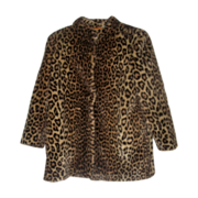 SALE Ladies Vintage Faux Leopard Print Short Coat Jacket