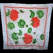 SALE Designer Signed Carelton  Varney Geranium Floral Silk Scarf
