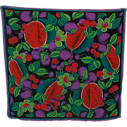 SALE Designer Saldarini  Silk Chiffon  Bright Colorful  Fruit  Floral Scarf