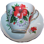 Regency English Bone China Red Hibiscus Flora Tea Cup Saucer Set
