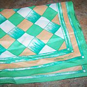 Pretty Vintage Signed Monique Martin Geometric Pattern Scarf  Neckerchief