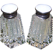SALE Cut Crystal Sterling Button Top Style Salt Pepper Shakers
