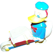 Collectible Vintage Novelty Donald Duck Wheel Barrow Ramp Walker