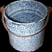 Primitive Blue Speckled  Graniteware Pail Bucket Original Bail Handle