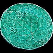 Wonderful Green Majolica Style Plate Strawberry Grape Motif